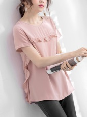 粉嫩色系荷葉滾邊素面雪紡上衣‧2色