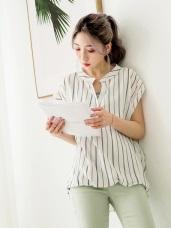 假兩件式簡約直條紋半開襟下襬立體抓皺反折袖造型上衣