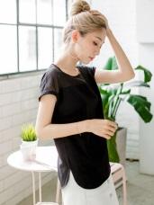 純色光澤感衣襬弧型開衩圓領透膚連袖反褶上衣.2色