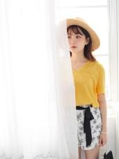 純色涼感透氣高含棉V領前短後長衣襬開衩上衣.4色