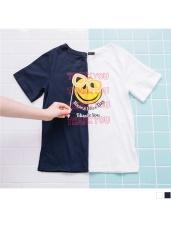 字母珠飾點綴笑臉燙印棉質T恤.2色