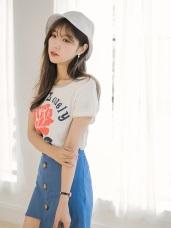 斑駁玫瑰花印圖拼色圓領竹節棉T恤.2色