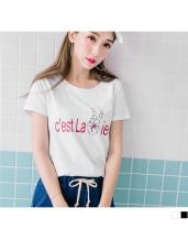 台灣製造.勝利手勢印字設計高含棉T恤.2色