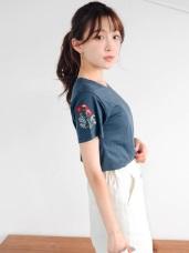 台灣製造.素色高含棉質感花朵刺繡綴袖圓領上衣.2色