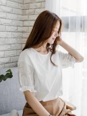 質感純色刺繡花朵圖案綴鬆緊荷葉袖口造型上衣.2色