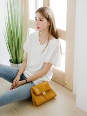 荷葉邊鏤空美背設計滾邊造型純色V領長版上衣.2色