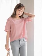 素色質感拼接不規則寬領造型上衣.2色