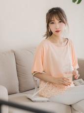 質感純色拼接鏤空蕾絲雕花下襬造型連袖上衣.2色
