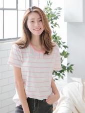 拼接條紋造型個性後拉鍊寬鬆棉質T恤.2色