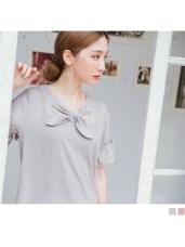 質感純色蝴蝶結綁帶領口造型綴荷葉袖雪紡上衣.2色