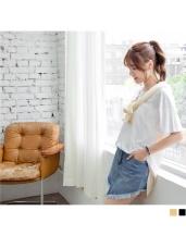 胸前口袋後背拼接配色直條紋竹節棉圓領長版上衣.2色