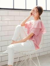 質感純色荷葉V領口綴蝴蝶結綁帶造型雪紡上衣.2色