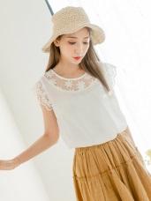 質感純色鏤空緹花領拼接布蕾絲袖口造型雪紡上衣.2色