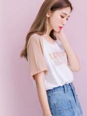 高含棉不收邊剪裁造型印字拼色連袖寬鬆T恤