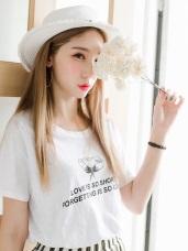 台灣製造.花朵圖樣綴英文印字竹節棉T恤.2色