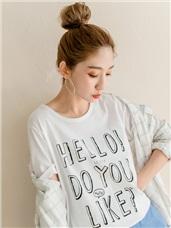 台灣製造手繪風立體感印字高含棉T恤.2色