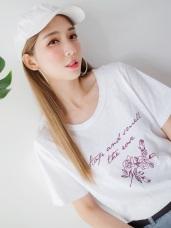 台灣製造.草寫印字玫瑰圖樣竹節棉T恤.2色