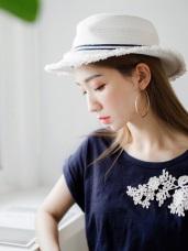 質感純色綴布蕾絲緹花反摺連袖造型竹節棉上衣.2色