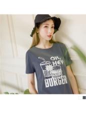俏皮漢堡餐點燙印圖樣短袖上衣.2色