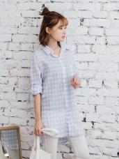 高含棉清新格子雙口袋設計排釦襯衫.2色