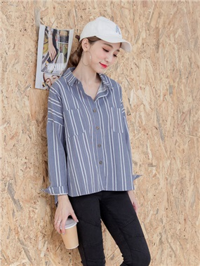 雙口袋直條紋配色前短後長高含棉寬鬆襯衫