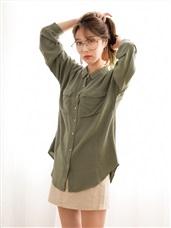 輕薄柔質襯衫長袖上衣