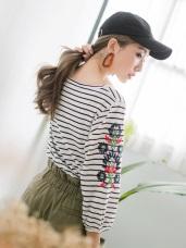 橫須賀花刺繡橫條上衣