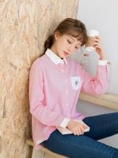 細直條造型口袋配色前短後高含棉長襯衫