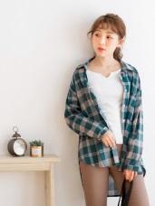 高含棉格紋配色前短後長襯衫