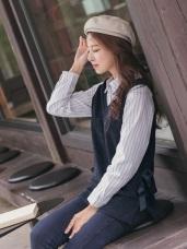 針織背心x直條襯衫假兩件上衣