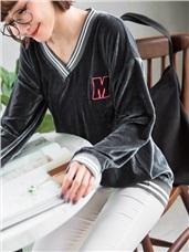 字母刺繡條紋拼接絲絨上衣