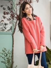 側擺排釦造型內刷毛衛衣上衣