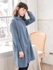 手感柔軟直坑條縲縈長版襯衫/洋裝