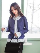 假兩件直條紋襯衫領綁結造型高含棉上衣
