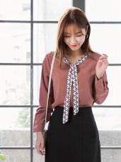 領巾造型純色墜感襯衫