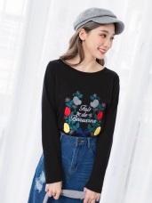 浪漫刺繡花朵英字造型上衣