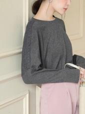 棉質拼接蕾絲布落肩寬鬆磨毛上衣