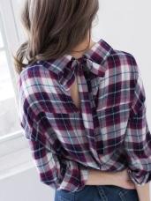 高含棉背綁帶造型格紋襯衫