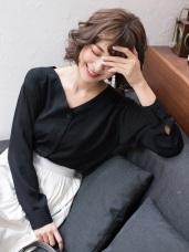 質感純色V領襯衫