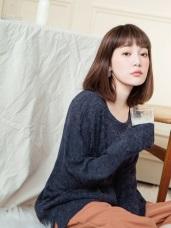 柔軟混色袖反褶仿針織長版毛料上衣