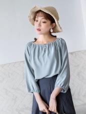 純色開襟假釦造型一字平口領五分袖上衣