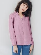 純色前短後長織紋襯衫/罩衫