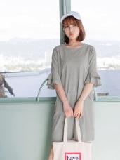 高含棉雙層不收邊荷葉袖棉麻洋裝
