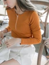彈力豎羅紋前排釦內配色高含棉上衣