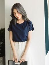 柔軟舒適竹節紋高含棉圓領上衣