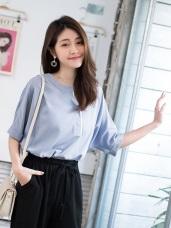 配色拼接半開襟袖反褶五分袖寬鬆上衣