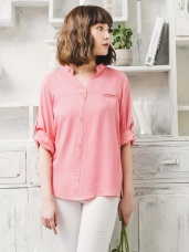 鈕釦造型半開襟立領襯衫