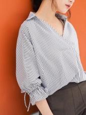 配色直條紋喇叭袖半開襟襯衫