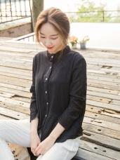 純色微透膚細褶小立領襯衫