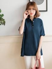 素雅純色小排釦車線寬鬆襯衫